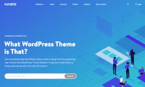 Screenshot of the WordPress Theme Detector home page.
