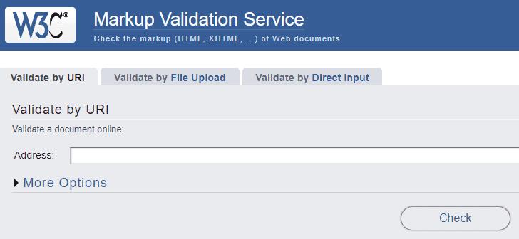 Markup validation tool screenshot