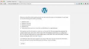 WordPress Install welcome screen