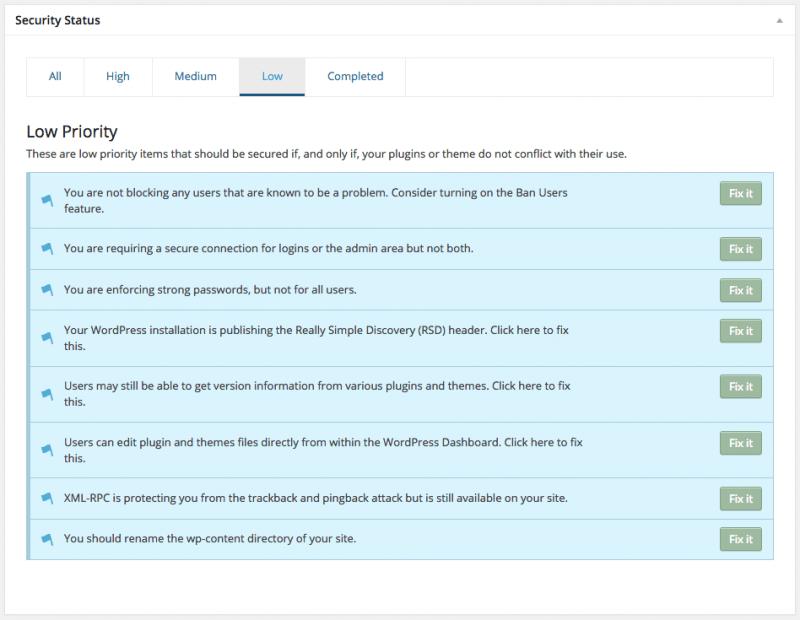 WordPress Security iThemes Low Priority