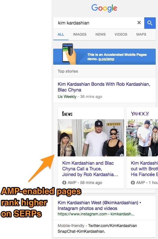 Google AMP ranking SEO