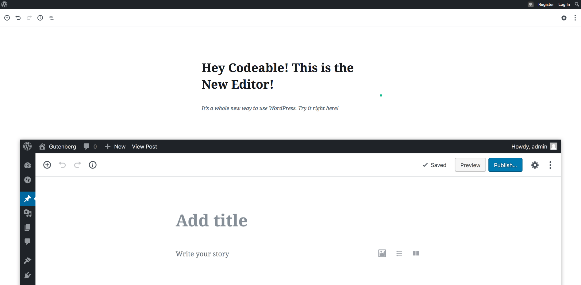 This is the new WordPress editor in 5.0 — Gutenberg